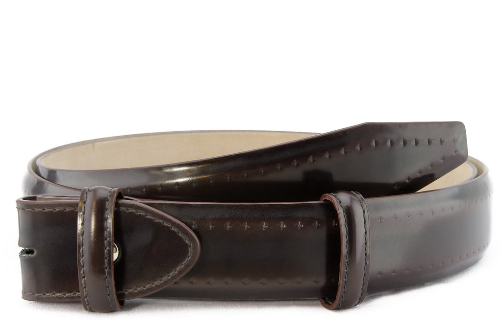 Mahogany burnished diamond brogue belt strap