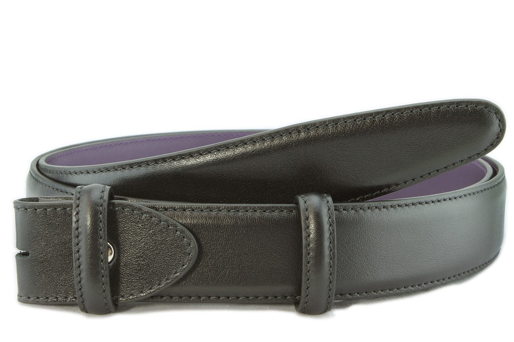 Black nappa feel belt strap