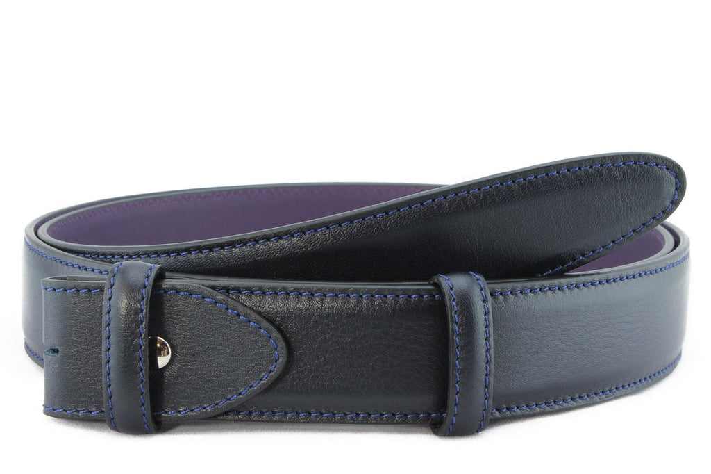 Navy blue box calf belt strap