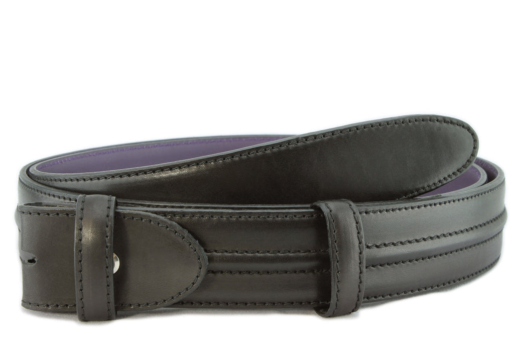 Black burnished welt belt strap