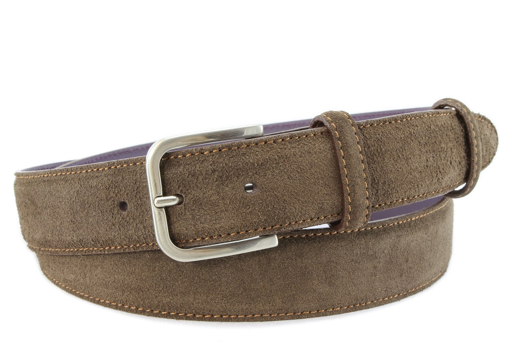 Brown Suede Belt In Elegant Chocolate With A Gunmetal Buckle