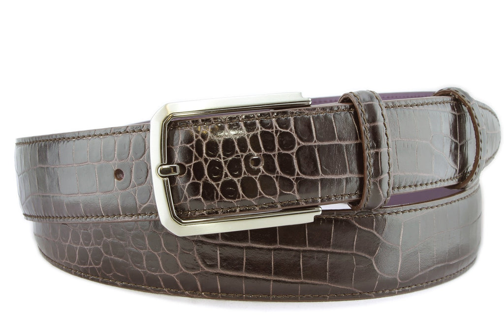 Dark brown mock crocodile belt