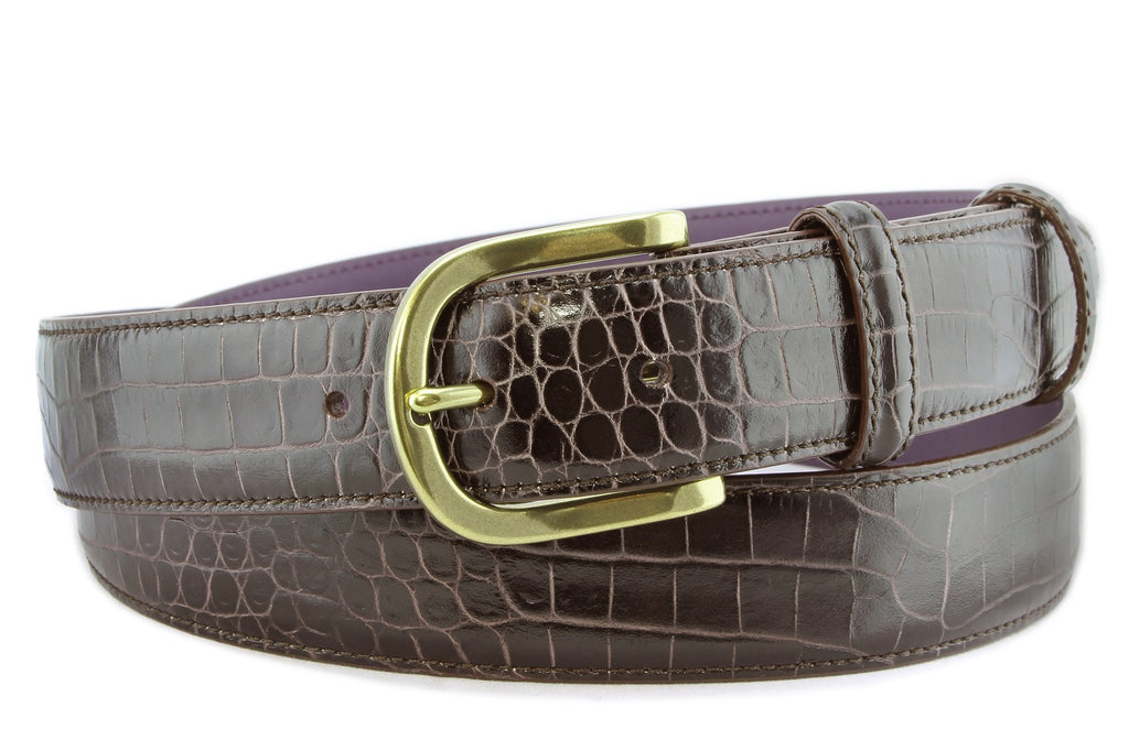 Dark brown mock crocodile belt with gold buckle