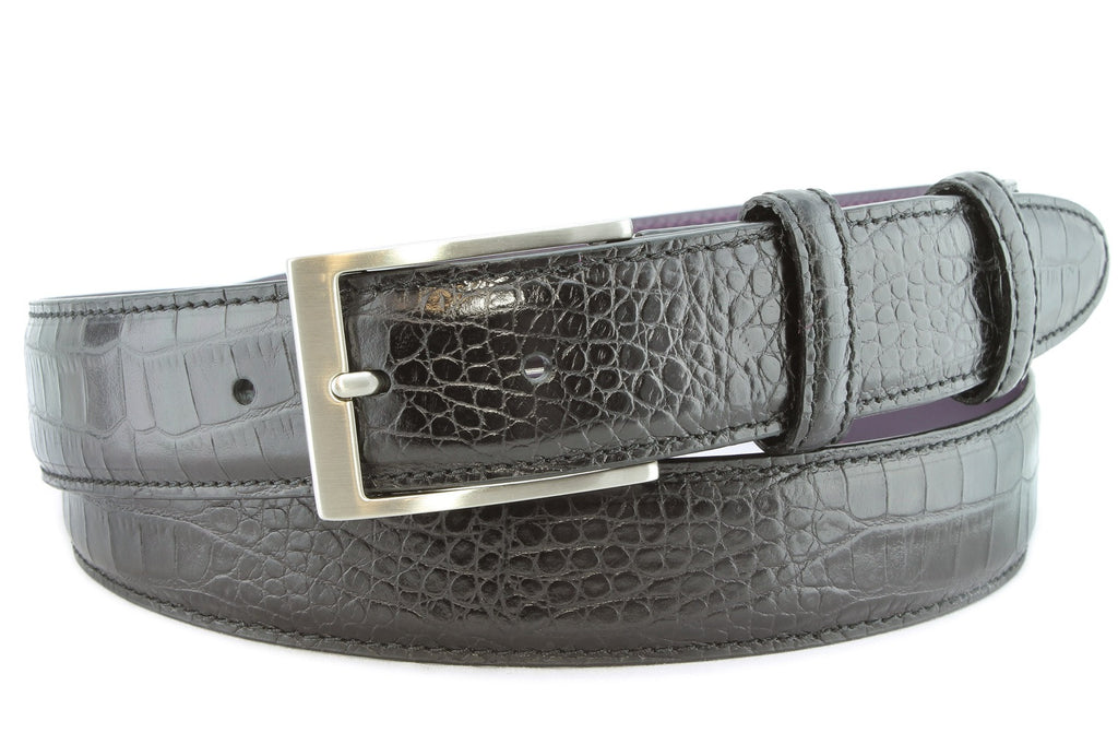 Black mock crocodile belt with satin silver buckle