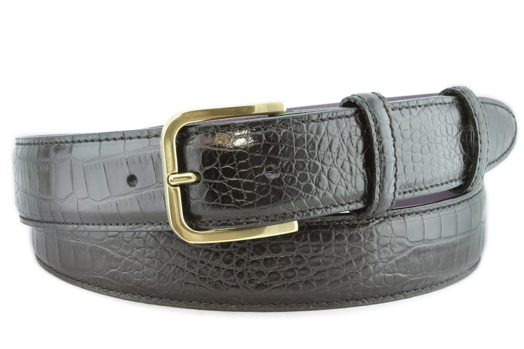 Black mock crocodile gold buckle belt