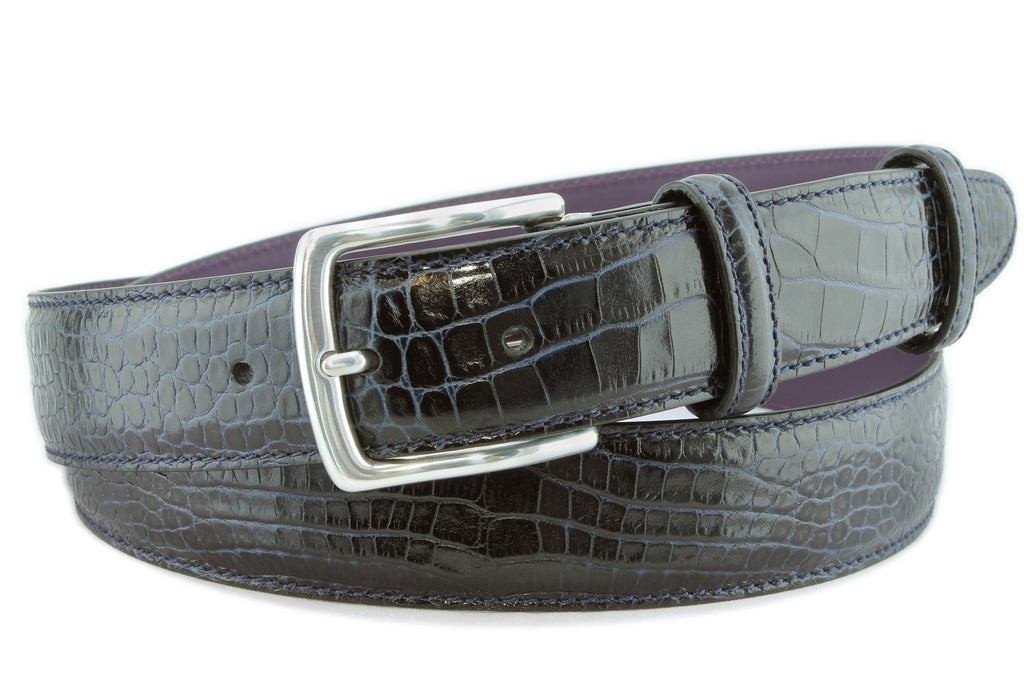 Navy blue mock crocodile belt