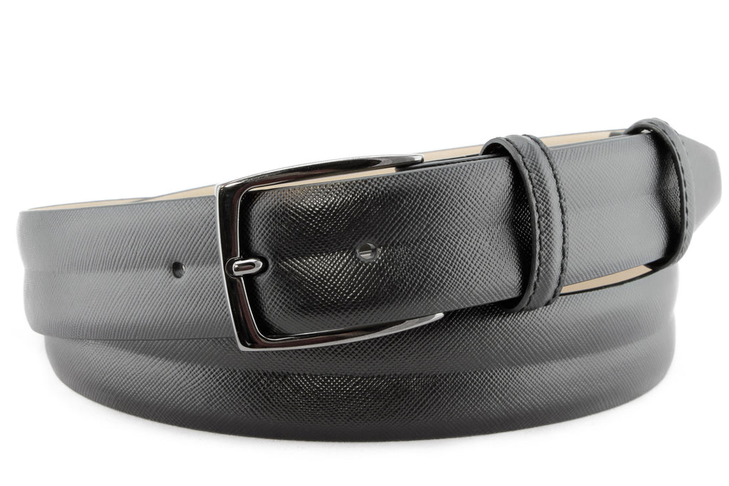Black saffiano moulded design belt