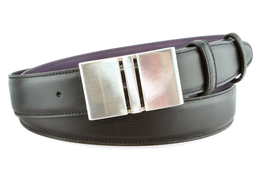 Black saffiano leather silver plate belt