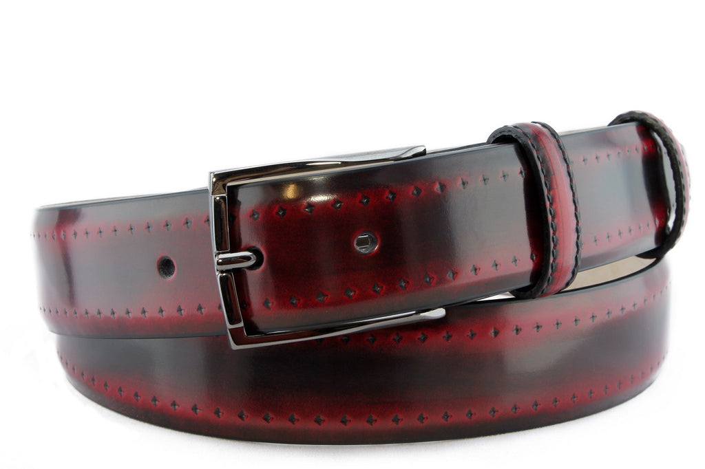 Black/Red burnished brogue belt