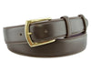 Dark brown box calf belt with gold buckle