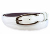 Optic white napa feel slim belt