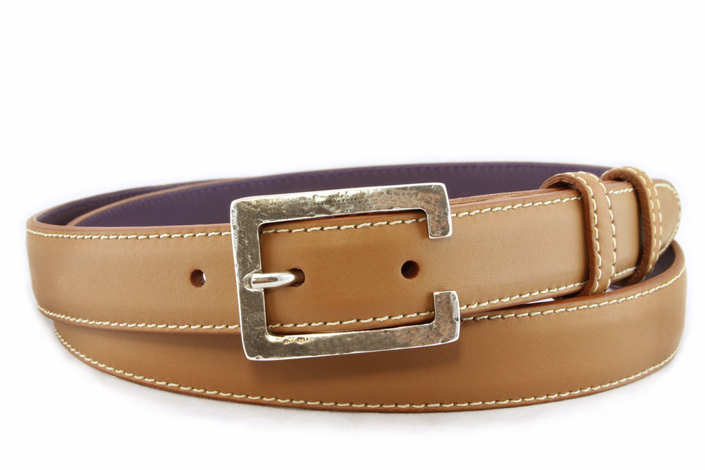Caramel napa feel slim belt
