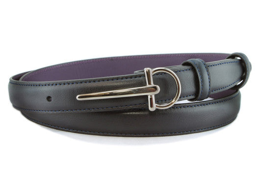 Navy Blue napa feel slim sabre buckle belt