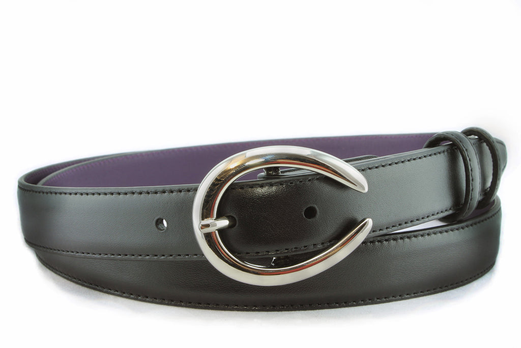Black napa feel slim belt