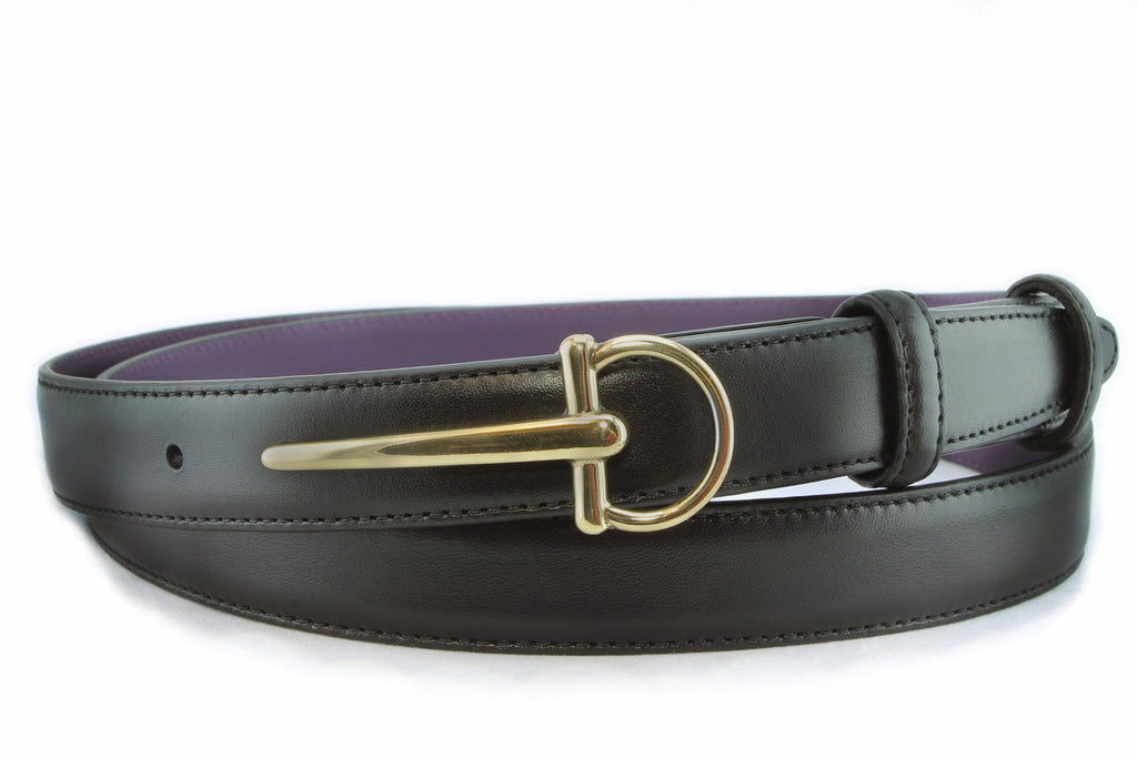 Black napa feel slim belt with antique gold sabre buckle