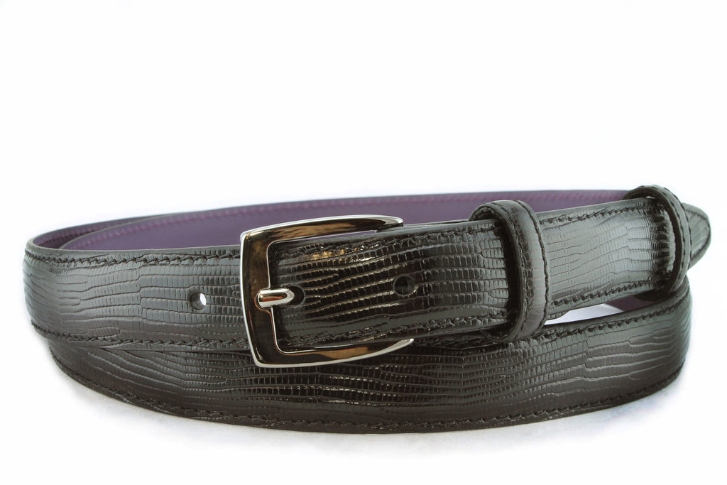 Black mock lizard slim belt with satin silver buckle