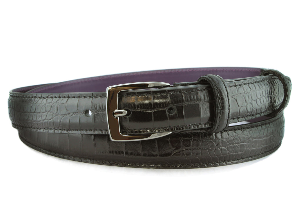 Black mock crocodile slim classic belt