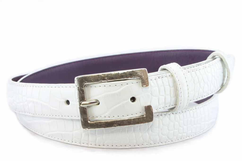 Optic white mock crocodile slim belt