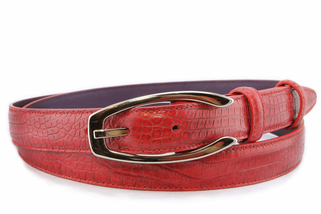 Classic red mock crocodile slim belt