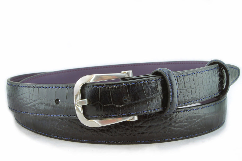 Navy blue slim mock crocodile bevel buckle belt