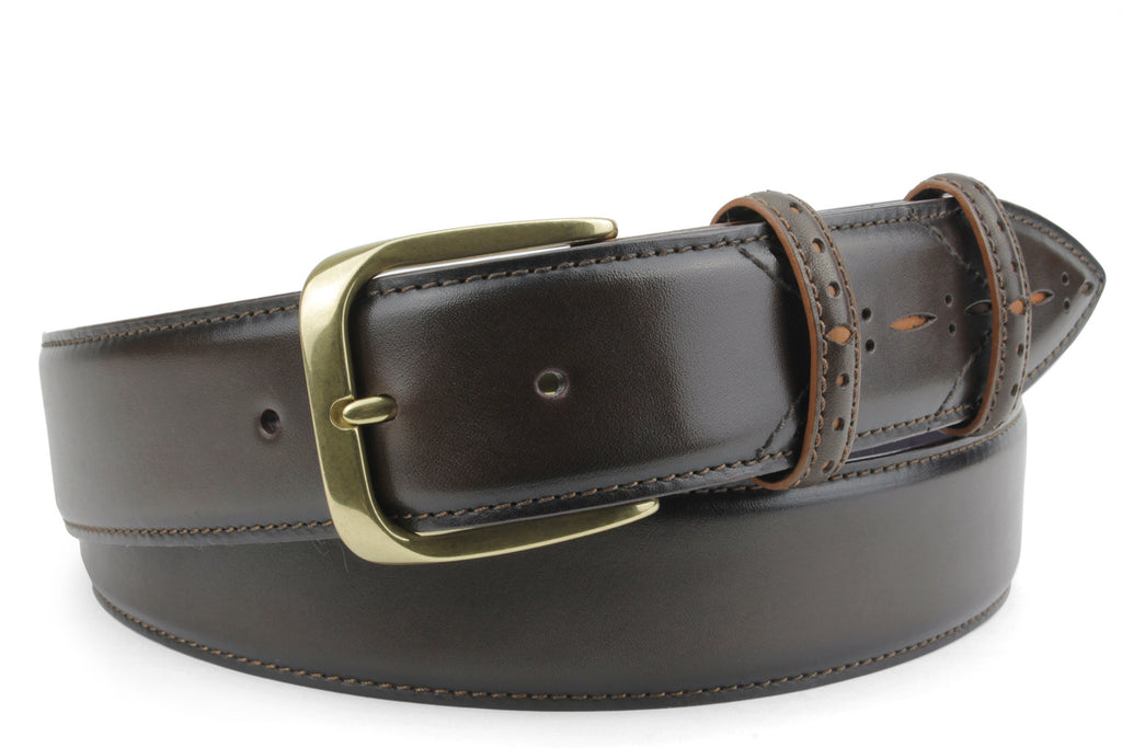 Sinatra Bitter Choc/Tan mix Perforated Belt