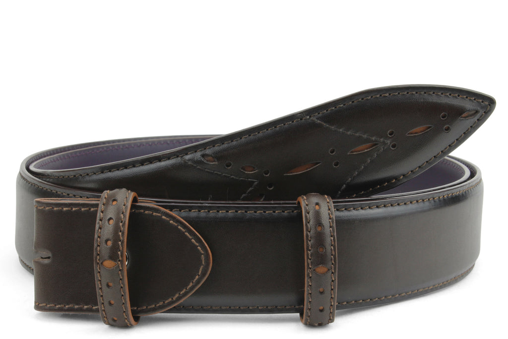Sinatra Bitter Choc/Tan mix Perforated Belt Strap