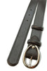 Black napa soft feel narrow belt with silver buckle