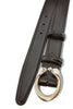 Women's Black Calf Leather Belt With Horseshoe Buckle