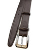 Dark brown box calf narrow belt