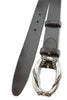 Black chunky narrow rope buckle belt