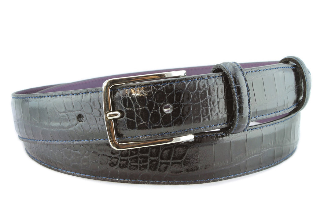 Navy blue narrow mock croc belt with silver buckle