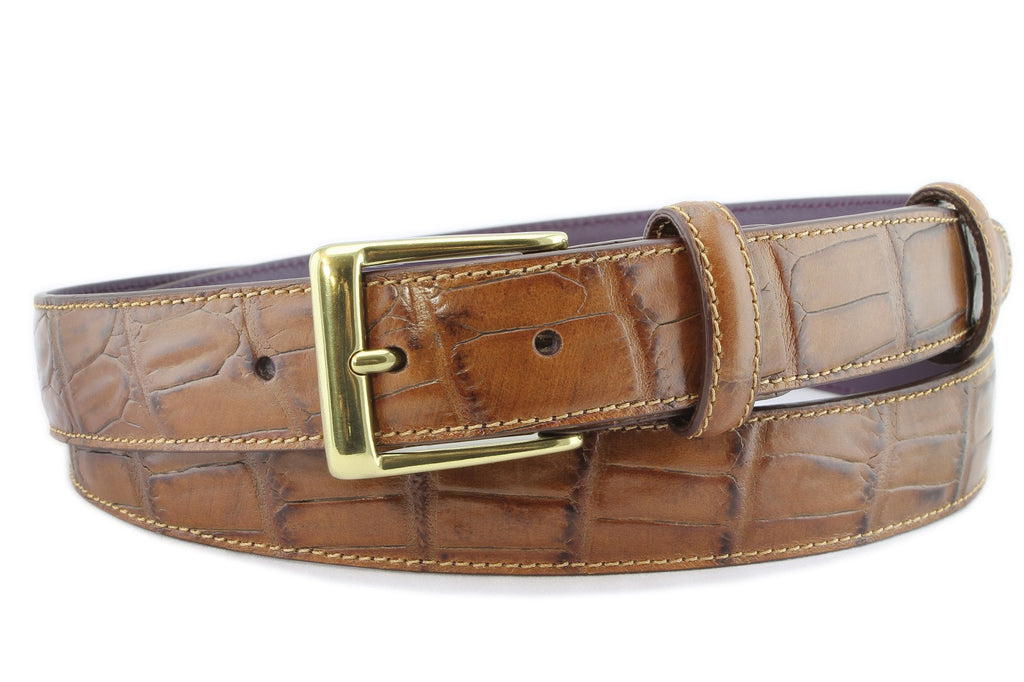 Tan narrow mock alligator tail belt