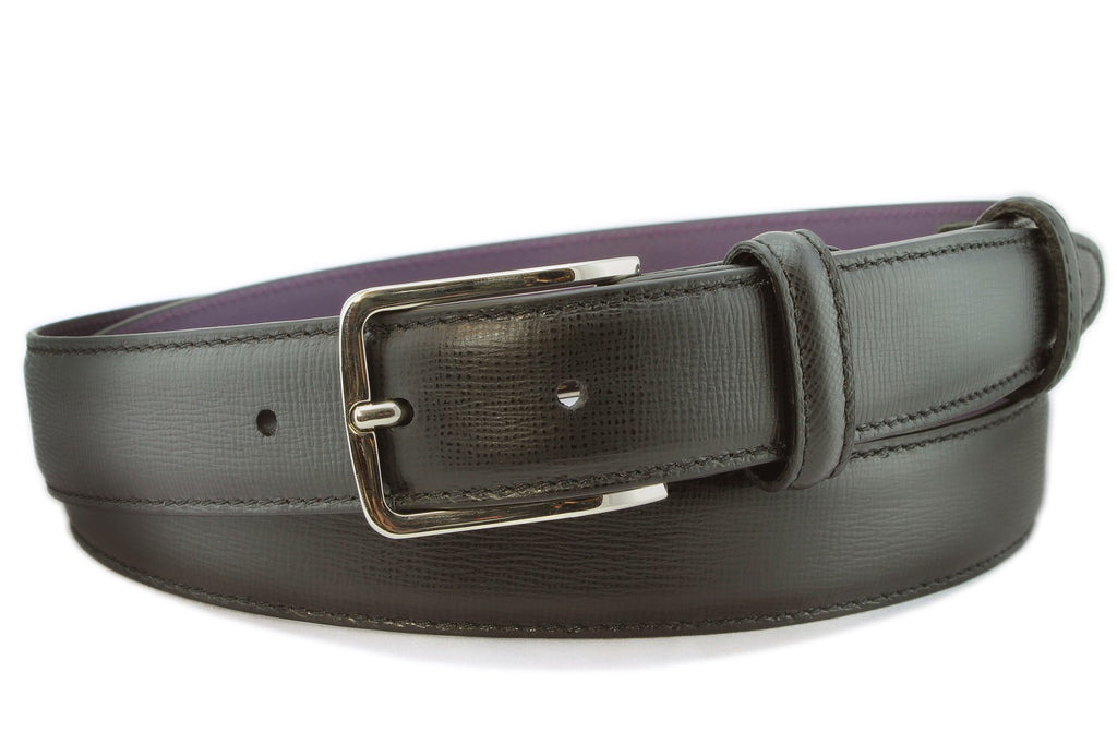 Black saffiano leather narrow belt with silver buckle