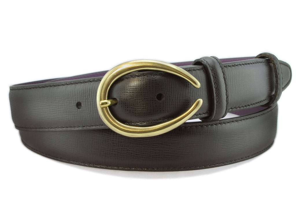 Black saffiano leather narrow belt with curved gold buckle