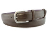 Dark brown saffiano leather narrow belt with silver buckle