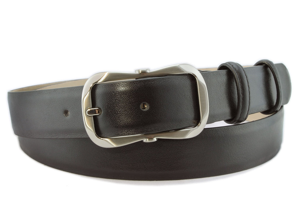 Black napa soft feel narrow belt with hexagon buckle