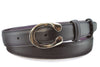Navy blue box calf narrow horseshoe buckle belt