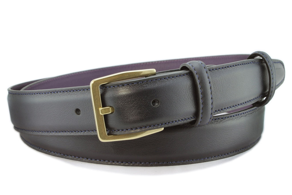Navy blue box calf narrow belt