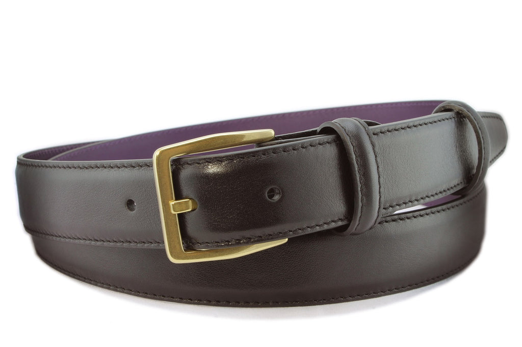 Narrow Black Calf Leather Belt For Men and Women Paired With An Aged Gold Buckle