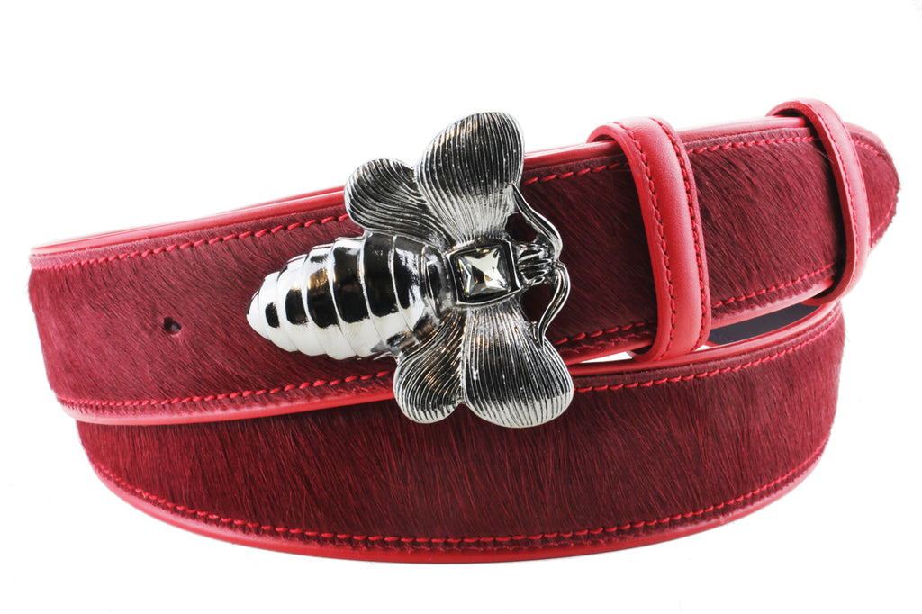 Scarlet Pony Hair Bee Belt
