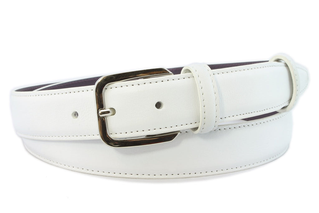 Optic white napa feel narrow belt with silver buckle