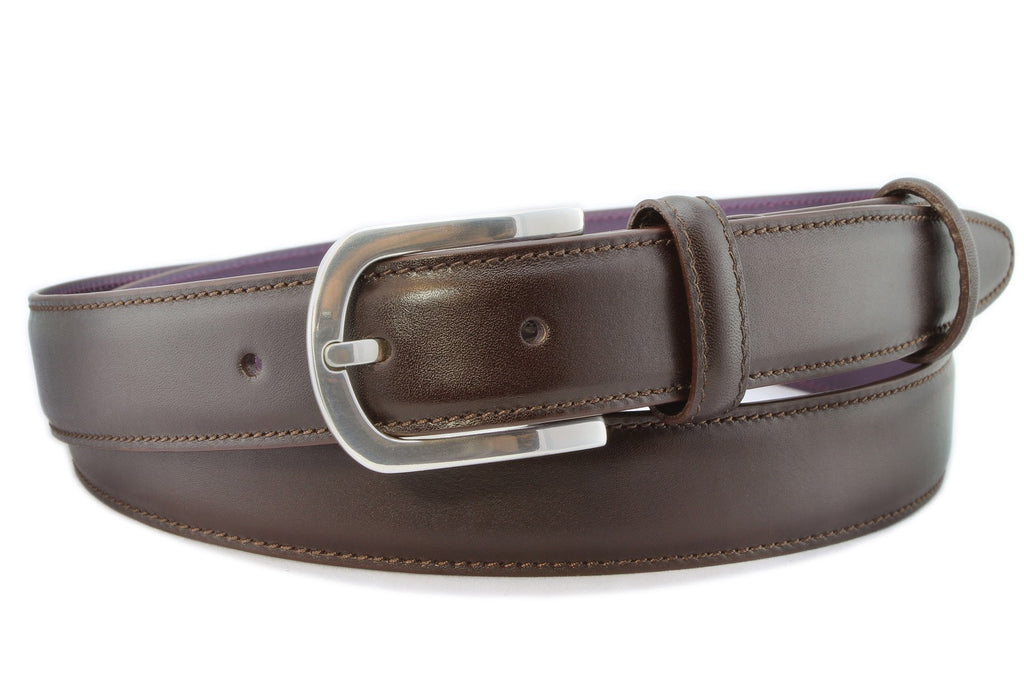 Dark brown box calf narrow belt with silver buckle