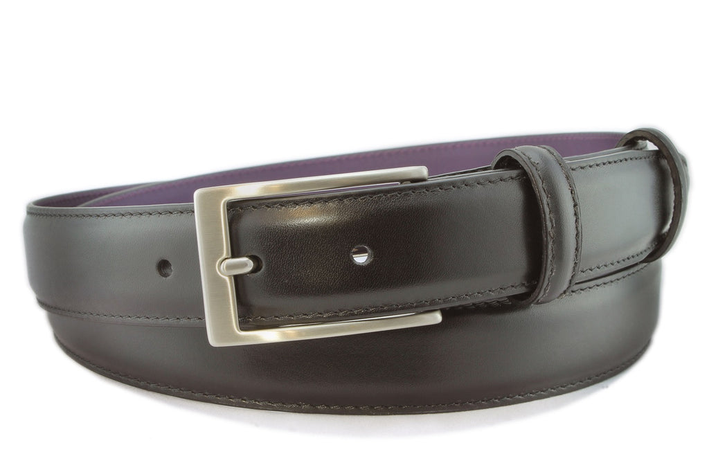 Men's Black Calf Leather Belt With A Satin Silver Buckle