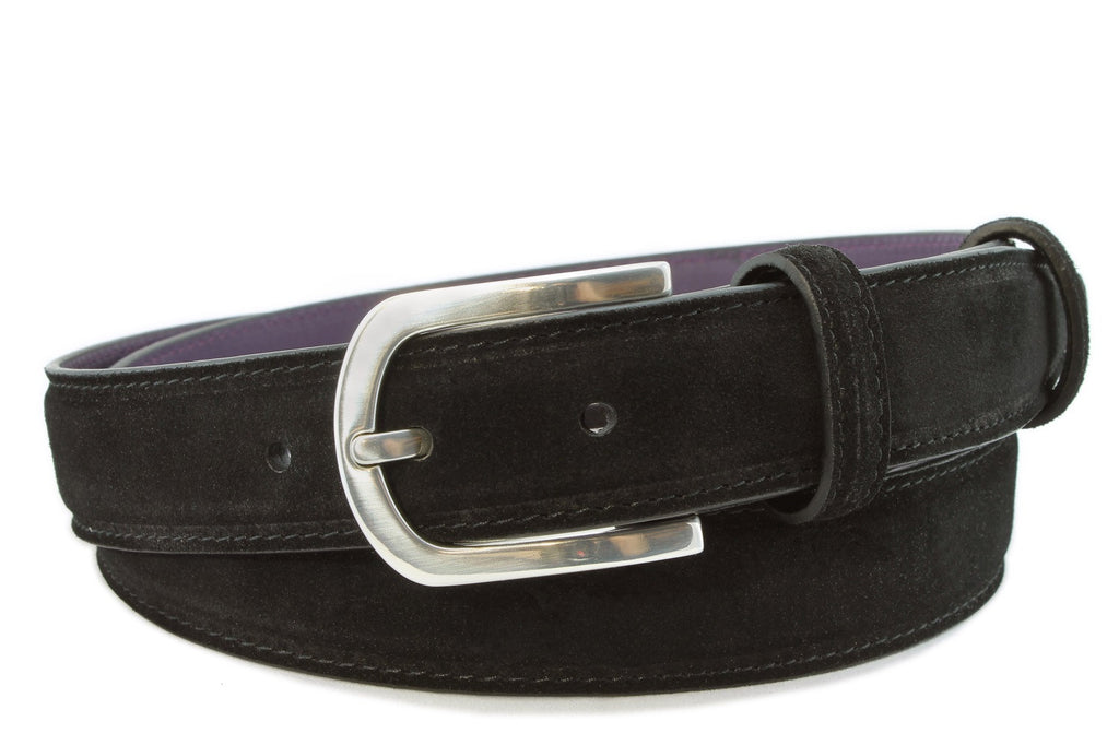 Black narrow suede belt with silver buckle