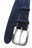Mens Navy Suede Belt With A Sculpted Antique Silver Buckle