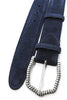Navy blue classic suede ridged buckle belt
