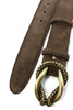 Dark brown classic suede reef knot belt