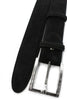 Black suede slim line prong belt