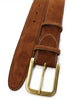 Tan English suede rectangular buckle men's belt