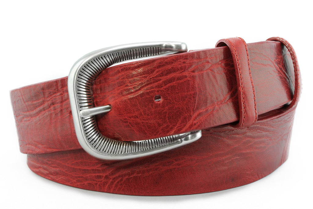 Poppy Red vintage feel etched belt